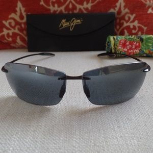 New, Maui Jim Lighthouse Rimless Gloss Black-Grey